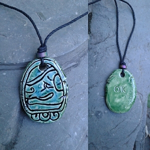 Mayan OK Necklace Mesoamerican Tzolk'in Day Sign Dog Glyph Ceramic Amulet Turquoise Green