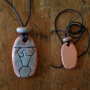 Paddle Man Necklace Hawaiian Pendant Turquoise Terra Cotta Amulet South Pacific Ancient Petroglyph