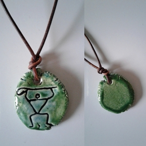 Paddle Man Necklace Hawaiian Pendant Turquoise Green Ceramic Amulet South Pacific Ancient Petroglyph