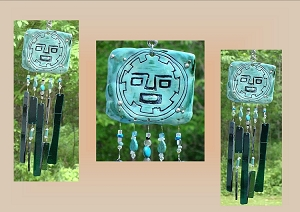 Pachacuteq Glass Windchime, Incan Pottery Tile, Turquoise Teal Ceramic Chime, Stained Glass Art, Garden Suncatcher, Garden Hanging Decor