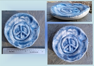 Peace Sign Incense Burner Mini Porcelain Dish Blue Pottery Ceramic Ring Dish