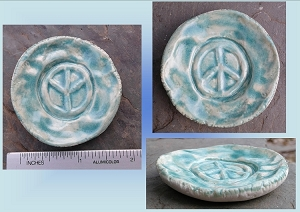 Peace Sign Incense Burner Mini Porcelain Dish Sea Turquoise Pottery Ceramic Ring Dish