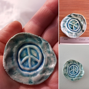 Purple Peace Sign Incense Burner Mini Porcelain Dish Pottery Ceramic Ring Dish Rustic Boho