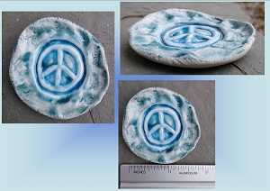 Peace Sign Incense Burner Mini Porcelain Dish Teal Turquoise Pottery Ceramic Ring Dish