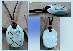 Turquoise PEACE Rune Viking Necklace Norse Runestone Ceramic Pendant