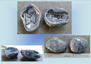 Set 2 Ceramic Blue Worry Stones Norse PEACE Runestone Anxiety Relief Pocket Palm Pebble