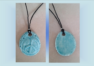 Peace Sign Necklace Turquoise Ceramic Pendant Clay Pottery Amulet on Hemp Cord