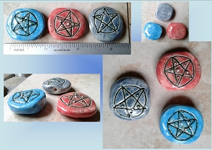 Set 3 Pentagram Ceramic Pendants Red Turquoise Blue Beads Wiccan Amulet with Fine Silver Necklace Supplies