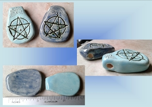 Set 2 Wiccan Pentagram Ceramic Pendants Turquoise Blue Pagan Amulets Pottery Beads