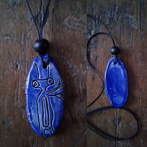Petroglyph Necklace Blue Ceramic Pendant Native American Rock Amulet