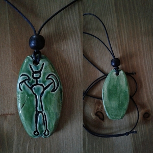 Petroglyph Necklace Turquoise Green Ceramic Pendant Native American Rock Amulet