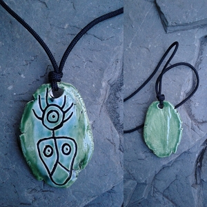 Taino Shaman Necklace Turquoise Green Ceramic Petroglyph Pendant Caribbean Native Art