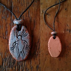 Alien Necklace Sego Canyon Pendant Turquoise Terra Cotta Petroglyph .3
