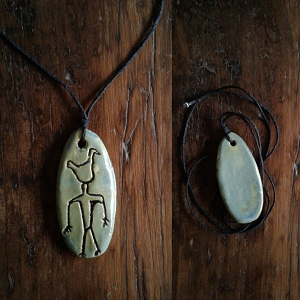 Petroglyph Necklace Ancient Symbol Pendant Ceramic Sea Green Peterborough Native American Amulet