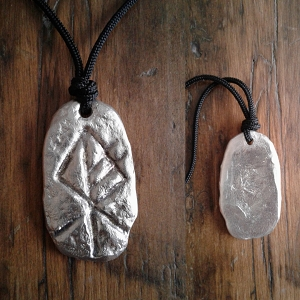Hand Cast Pewter Wolf Rune Necklace Norse Metal Runestone Pendant Viking Amulet