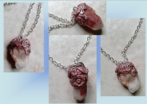 Red Phantom Quartz Necklace Crystal Pendant Bridge to Unity Soul & Earth Mayan Art
