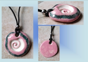 Pink Aquamarine Sacred Spiral Clay Aromatherapy Necklace Essential Oil Diffuser Disc Pendant Ceramic Pottery
