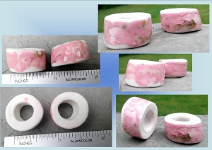 Set 2 Pink Porcelain Macrame Beads Rustic Large Hole Dread Dreadlock Molted Clay Pottery Beads