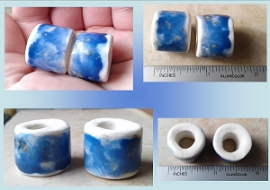Set 2 Macrame Beads Royal Blue Porcelain Large Hole Dread Dreadlock Clay Pottery Beads