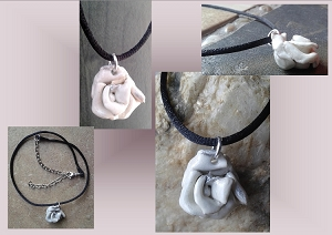 White & Silver Porcelain Rose Choker Pendant Necklace Ceramic Flower