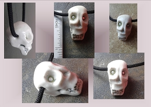 Porcelain Skull Pendant Necklace with Fine Silver Eyes Ceramic Sugar Skull