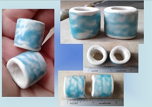 Set 2 Macrame Beads Pale Turquoise Porcelain Large Hole Dread Dreadlock Clay Pottery Beads