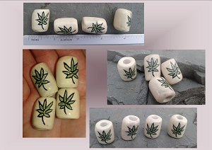 4 Dreadlock Ceramic marijuana Green Beads Dread Hair Accessories Cannabis Macrame Pottery Supplies