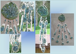 Green Turquoise Marijuana Leaf Pottery Wind Chime Ceramic Cannabis Clay Mobile Weed