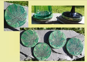 4 Marijuana Leaf Coasters, Ceramic Round Coasters, Green Pottery Coasters, Cannabis Decor, Hand Carved Art, Stoneware