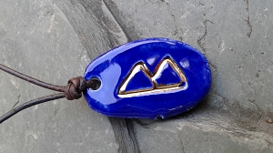 Berkana Prayer Healing Rune Necklace Blue & Genuine Gold Ceramic Viking Growth Rebirth Amulet