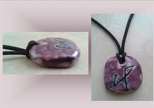 Purple Archangel Michael Necklace Angel Sigil Ceramic Pendant Clay Pottery Amulet Sacred Protection Jewelry