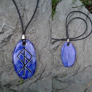 RAGNAROK Necklace Blue Ceramic Norse Pendant Viking Amulet Twilight of the Gods