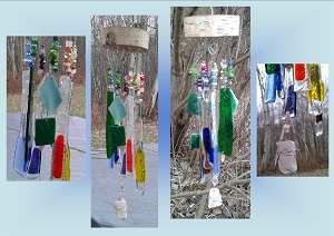 Rainbow Glass Windchime With Rose Quartz Crystal Lgbt Wood Chimes Fused Glass Mobile Garden Decor  .2