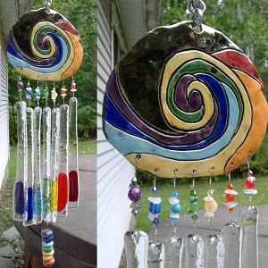 Rainbow Glass Wind Chime Ceramic Pottery Mobile Garden Decor