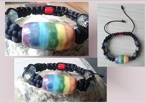 Rainbow Bracelet Lgbt Ceramic Bead Chakra Gay Pride Shamballa Adjustable Bracelet