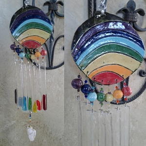 Rainbow Glass Wind Chime Ceramic Pottery Mobile Garden Decor .2