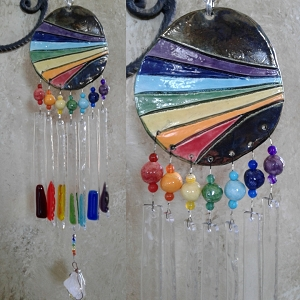 Rainbow Glass Wind Chime Ceramic Pottery Mobile Garden Decor .4