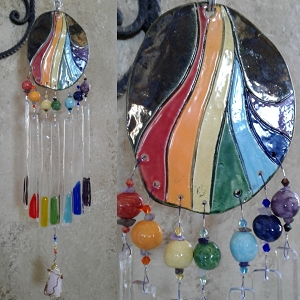 Rainbow Glass Wind Chime Ceramic Pottery Mobile Garden Decor .3