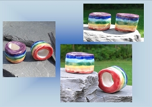 2 Large Hole Dreadlock Beads, Rainbow Dread Beads, LGBT Hair Accessories, Chakra Beads, Ceramic Pottery , Macrame Supplies