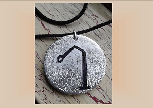 Angel Raphael Necklace, Archangel Sigil Metal Pendant, Aluminium Etching, Sacred Protection Amulet