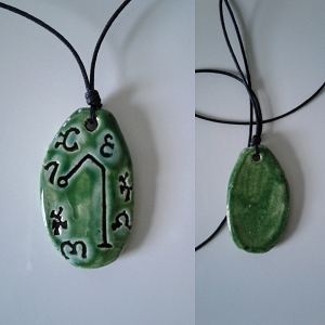 Archangel Raphael Necklace Green Ceramic Angel Pendant Sigil Enochian Amulet Sacred Protection