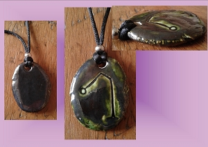 Archangel Raphael Necklace Pewter Green Angel Sigil Ceramic Pendant Angel Amulet
