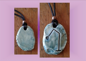 Archangel Raphael Necklace Turquoise Teal Angel Sigil Ceramic Pendant Angel Amulet