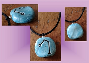 Archangel Raphael Necklace Turquoise Angel Sigil Ceramic Pendant Angel Amulet