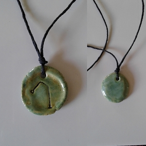 Archangel Raphael Necklace Ceramic Sea Green Angel Pendant Sigil