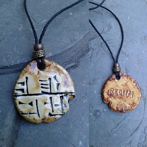 Cuneiform Soldier Necklace Sumerian Pendant Copper Sand REDUM Amulet
