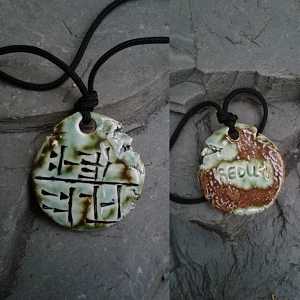 Cuneiform Soldier Necklace Sumerian Pendant Green Moss REDUM Amulet