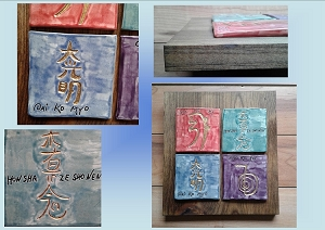4 Reiki Coasters, Gold Reiki Symbol Tiles, Purple Teal Red Blue Square Coasters, Sacred Symbol Reiki Pottery, Bathroom Ceramic Tiles