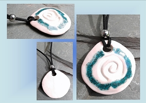 Rose Aquamarine Sacred Spiral Clay Aromatherapy Necklace Essential Oil Diffuser Disc Pendant Ceramic Pottery