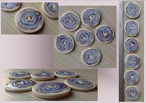 6 Round Purple Blue Porcelain Buttons Sewing Knitting Accessories